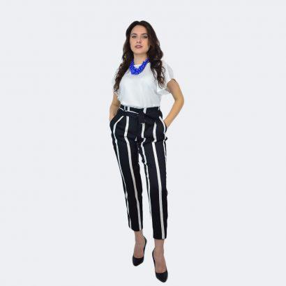 Pantaloni in dungi alb cu negru Zebra