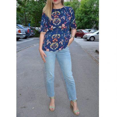 Bluza albastra imprimeu colorat Erica