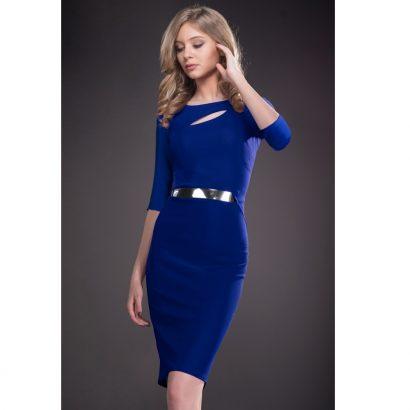 Rochie eleganta albastra pana la genunchi